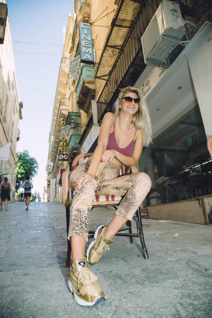 Jade wearing Disco Donut vintage clothing